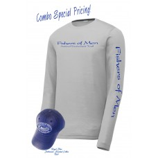 FOM LS Performance Tee Silver/Royal Blue Hat Combo